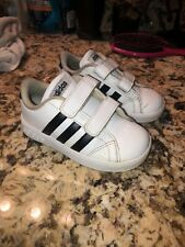 Adidas Original Little Boys Shoes Size 8K Black & White Gently Used Double Strap