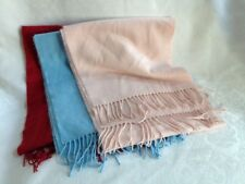 Lot of 3 Soft and Lovely 100% Cashmere Made in Scotland Scarves/Scarf Pink, Blue