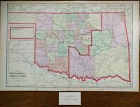 "Vintage 1903 OKLAHOMA INDIAN TERRITORY Atlas Map 22""x14"" ~ Old Antique ARAPAHO"