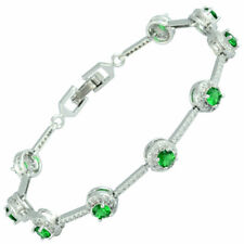 Lady Gift White Gold Plated CZ Zirconia Green Emerald Tennis Statement Bracelet