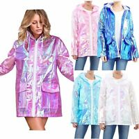 Women's Holographic Lightweight Fluorescent Festival Kagool Raincoat Mac Jacket