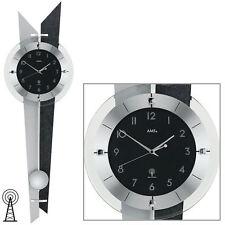 AMS 5253 Wanduhr mit Funkwerk Uhr Schiefer-Optik Pendeluhr Design Funkuhr NEU
