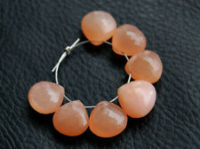 Natural Peach Moonstone Faceted Heart Briolette Semi Precious Gemstone Beads 004