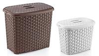 Plastic RATTAN Laundry Washing Powder Detergent Calgon Storage Box Tub with Lid