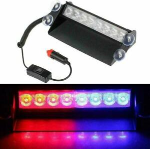 UK LED Car Front Grill Lights DRL Police Red/Blue Strobe Warning Flashing Lamps