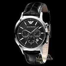 Emporio Armani Herren Uhr AR2447 Leder Schwarz Chronograph NEU OVP