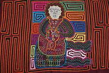 Vintage Handsewn Traditional Mola Art Applique Kuna Indian Woman Holding Pet 32B