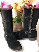 Stuart Weitzman Women's Fur Lined Black Suede Winter Boots Sz 9M