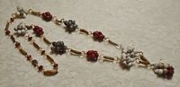 VINTAGE RED BROWN & GRAY BEADED WOOD CLUSTER LONG BOHO NECKLACE 36 INCH
