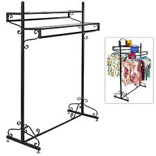 Victorian Style Boutique Clothes / Garment Display Rack w/ Dual Hangrail & Ca.