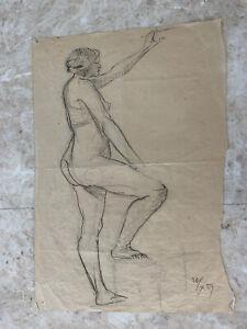 drawing 1937 Austrian nude woman Herbert Boeckl studio Risqué 18@12