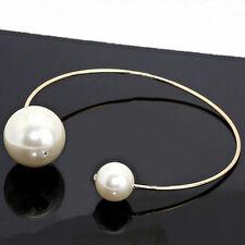 Fashion Women Gold Pearl Open Cuff Choker Collar Necklace Statement Jewelry