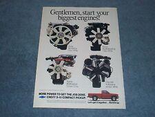 "1989 Chevy 4.3L S-10 Pickup Vintage Ad ""Gentlemen, Start Your Biggest Engines!"""