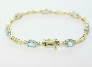 Women's 4.31CT Oval Cut Aquamarine 14K Yellow Gold Finish Party Wear Bracelet