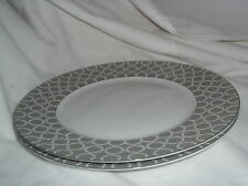 222 Fifth Chain Link Grey PTS International Porcelain Dinner Plate Set of 2 NEW