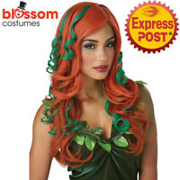 W563 Root of All Evil Poison Ivy Devil Red Long Halloween Costume Party Wig Hair