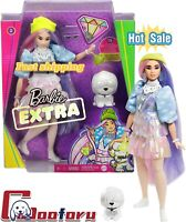 🌟Barbie Extra Doll 2 in Shimmery Look with Pet Puppy Pink & Purple Fantasy Hair