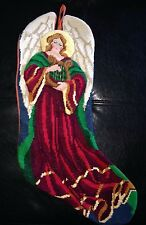 """Vtg Christmas Stocking Angel Playing Harp 3D Completed Needlepoint 17"""""""