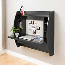 Black Floating Computer Desk Wall Mount Storage Home Office Kids Bedroom
