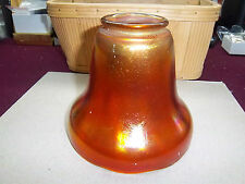 OLD IMPERIAL NUART SMOOTH PANEL SHADE ~ PUMPKIN MARIGOLD CARNIVAL GLASS ~ SIGNED