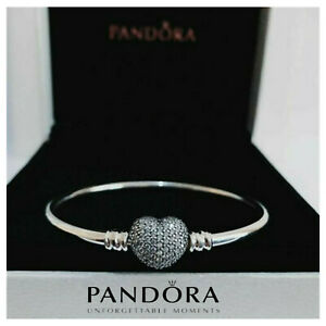UK Genuine Pandora 925 Silver You Are Always In My Heart Bangle Bracelet+package