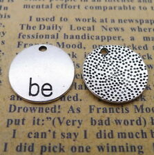 20 X Round Charms Words BE Beads Pendant DIY 16*16mm