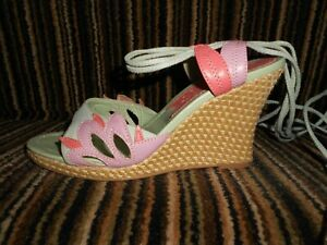 LEATHER & SUEDE APPLIQUE WEDGE SANDALS - MORGAN - 5 - MINT/CORAL/LILAC -  TIES *