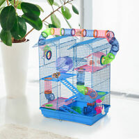 PawHut 5 Tiers Hamster Cage Small Animal Travel Carrier Habitat W/ Accessories
