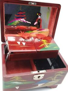 Rare Vintage Japanese Wood Hand Painted Music Box Daysun Foreign Lacquered Read
