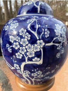 Ralph Lauren White Cherry Blossoms Blue Porcelain Table, Desk Lamp Home Office
