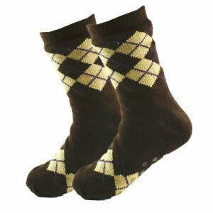 Mens Fuzzy Thick Sherpa Fleece Lined Cozy Knit Non-Skid Grid Slipper Socks LOT