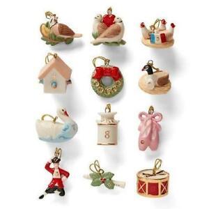 LENOX * TWELVE DAYS OF CHRISTMAS *  12 piece Tree Ornament Set  NEW   (No Tree)