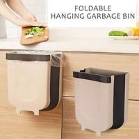 Wall Mount Folding Trash Bin Kitchen Bathroom Cabinet Door Trash Durable Dustbin