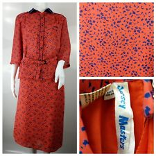 Jersey Masters Navy Blue Red Size 16 44 Vintage Retro Leopard Blouse Skirt Suit