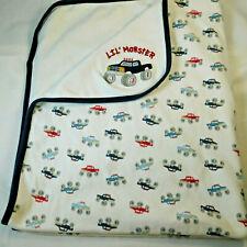 Gymboree 2008 Lil' Monster 4 x 4 Trucks Baby Blanket White & Blue HTF