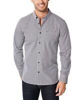 Calvin Klein Mens Shirt White Black Size Medium M Button Down Gingham $69 #053