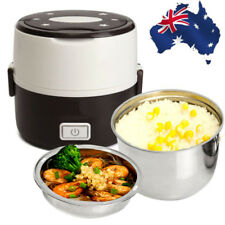 AU Portable Electric Lunch Box 2 Layer 1L Mini Steamer Pot Heating Rice Cooker