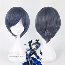 Short Black Butler Ciel Phantomhive Blue Mixed Grey Fantastic Cosplay Wig AAAAA