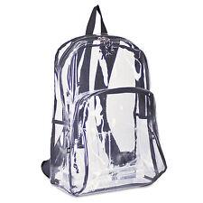 Eastsport Backpack PVC Plastic 12 1/2 x 5 1/2 x 17 1/2 Clear/Black 193971BJBLK