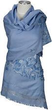 Schal, hand bestickt hand embroidered 100% Wolle, wool scarf Kashmir Blau Blue