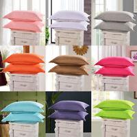 1/2Pcs Cotton Pillow Cases Covers Pillowcase Standard Queen Size Solid Colors