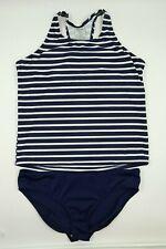 Lands' End Girls Navy White Striped 2 Piece Swimsuit Swimwear Size 14+ NEW