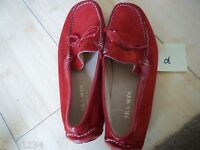 S.B.A. MODA SZ 6 US 36 EURO RED SUEDE PATENT DRIVING MOC SHOE LOAFER WOMENS L@@K