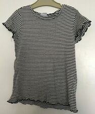 GIRLS PRETTY BLUE & WHITE RIBBED T-SHIRT 11-12 YEARS F&F (POSTAGE DEAL)