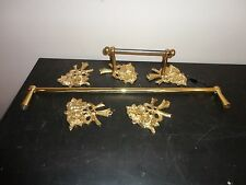 VINTAGE SOLID BRASS DECORATIVE 2 TOWEL HANGER BAR WITH EXTRA BRASS FLOWER