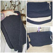 "Beautiful Large "" The Sak "" Black Power Knit Long Strap Purse Messenger Handbag"