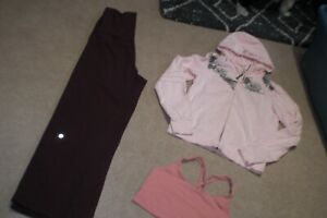 Lot of Lululemon Pants, Rare Hoodie and Bra sz 10