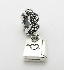 Heart Book LOVE NOTE PANDORA Sterling Silver VALENTINE Dangle CHARM/Bead 791246