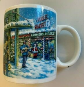 Starbucks Christmas Seattle Pike Place Farmers Market Green Blue Coffee Cup Mug
