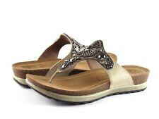 Dansko Pamela Jewelled Taupe Leather Embellished Flip Flop Sandal NEW EU Size 36